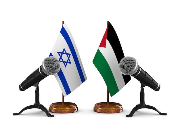 Bandiere di israele e palestina con microfoni