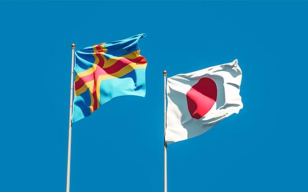 Bandiere del giappone e delle isole aland. grafica 3d