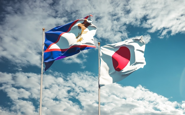 Bandiere del giappone e delle samoa americane. grafica 3d Foto Premium