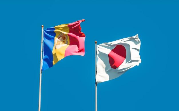 Bandiere del giappone e di andorra. grafica 3d