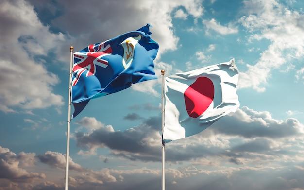 Bandiere del giappone e di anguilla. grafica 3d