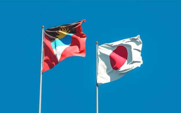 Bandiere del giappone e di antigua e barbuda. grafica 3d