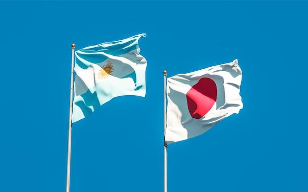 Bandiere del giappone e dell'argentina. grafica 3d