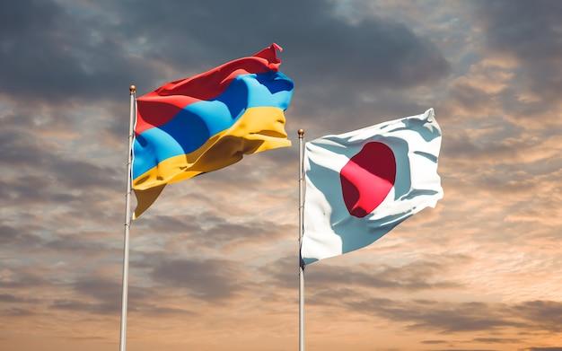 Bandiere del giappone e dell'armenia. grafica 3d