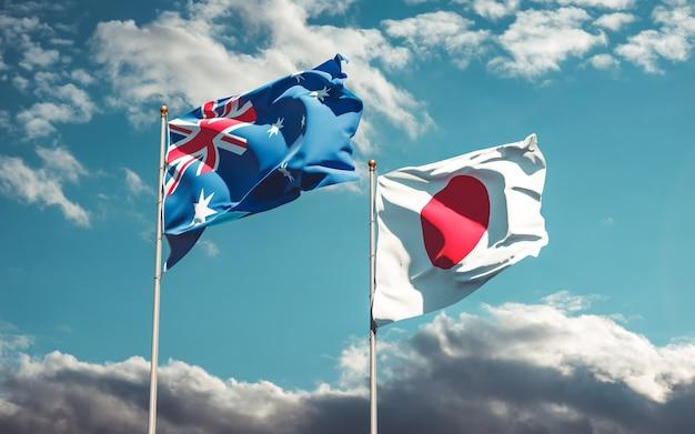 Bandiere del giappone e dell'australia. grafica 3d