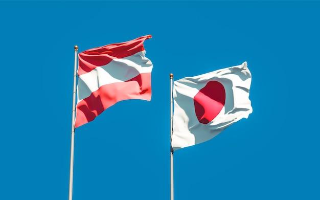 Bandiere del giappone e dell'austria. grafica 3d