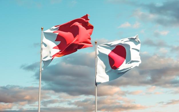 Bandiere del giappone e del bahrain. grafica 3d