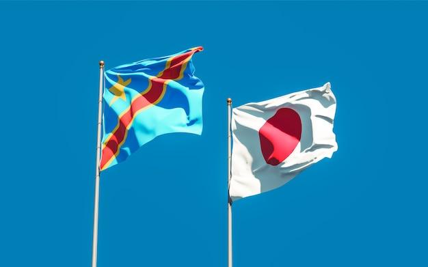 Bandiere del giappone e del congo. grafica 3d