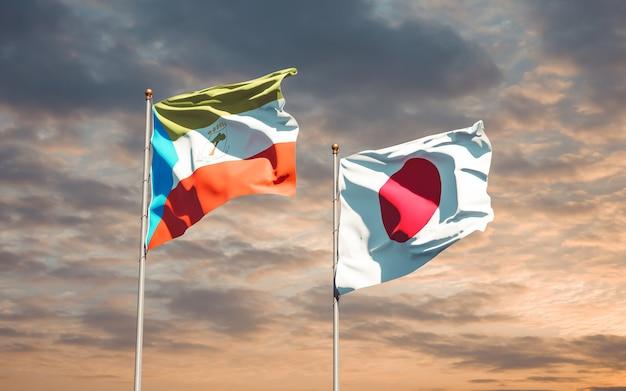 Bandiere del giappone e della guinea equatoriale. grafica 3d