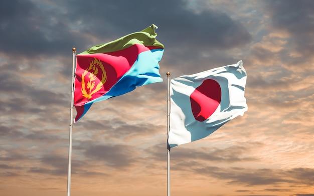Bandiere del giappone e dell'eritrea. grafica 3d