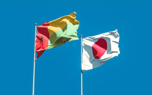 Bandiere del giappone e della guinea-bissau. grafica 3d