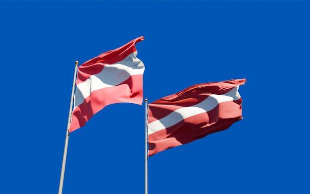 Bandiere di lettonia e austria. grafica 3d