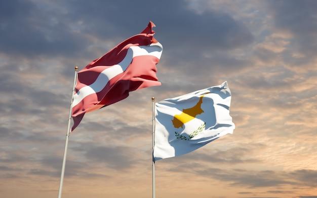 Bandiere di lettonia e cipro.