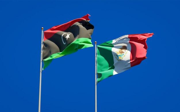 Bandiere di libia e messico. grafica 3d