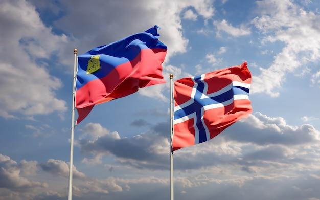 Bandiere del liechtenstein e della norvegia