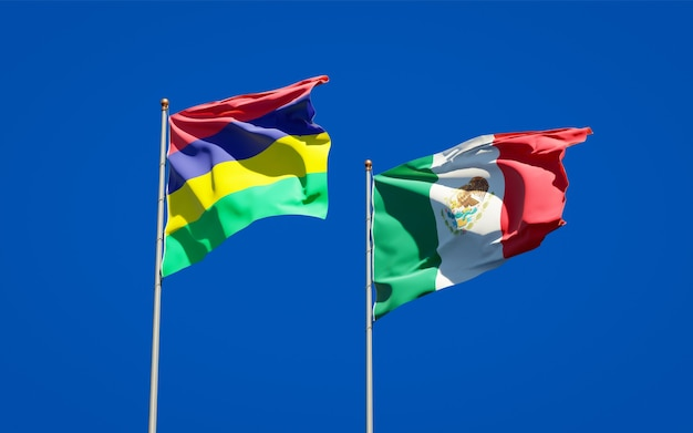 Bandiere di mauritius e messico. grafica 3d