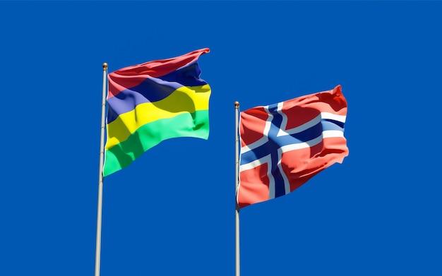 Bandiere di mauritius e norvegia
