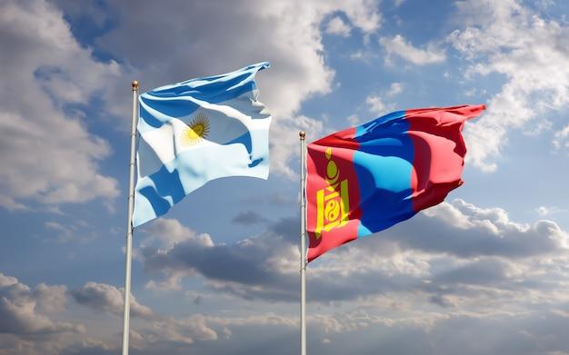 Bandiere di mongolia e argentina.