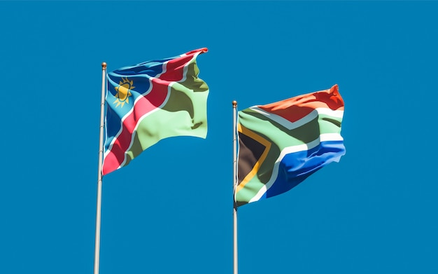 Bandiere della namibia e dell'africa sar sul cielo blu. grafica 3d