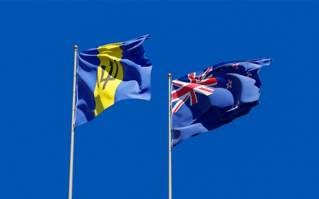 Bandiere della nuova zelanda e delle barbados. grafica 3d