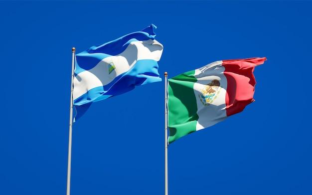 Bandiere del nicaragua e del messico. grafica 3d