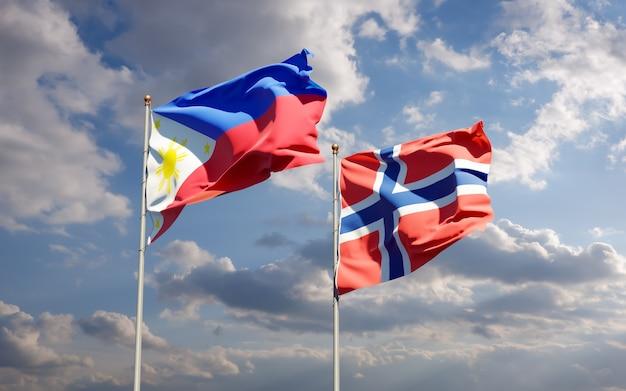 Bandiere di norvegia e norvegia. grafica 3d