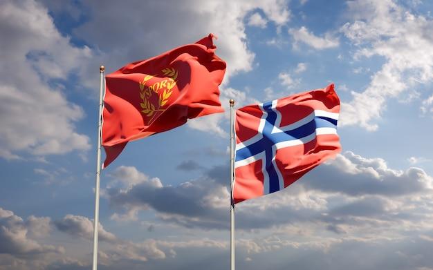 Bandiere di nova roma e norvegia