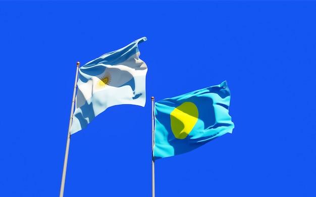 Bandiere di palau e argentina.