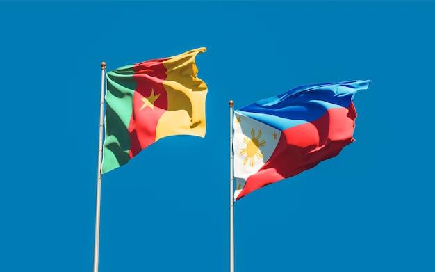Bandiere di filippine e camerun. grafica 3d