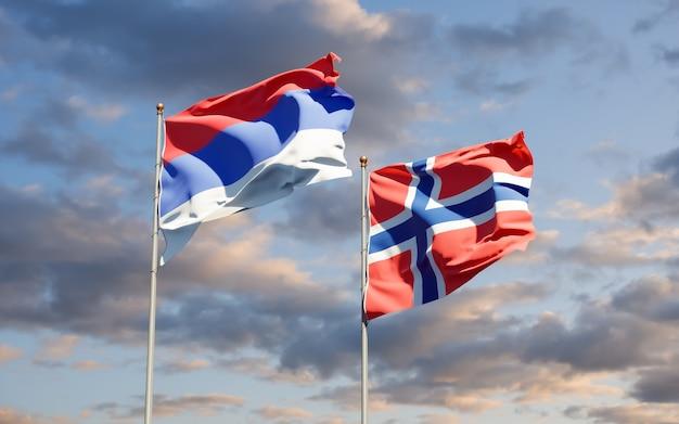 Bandiere della republika srpska e della norvegia