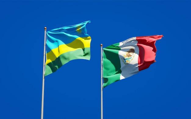 Bandiere del ruanda e del messico. grafica 3d