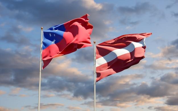 Bandiere di samoa e lettonia