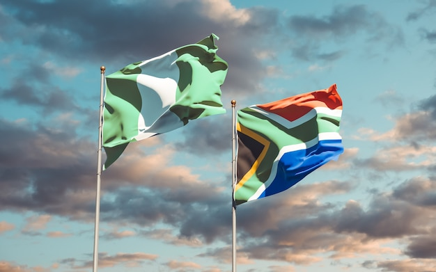 Bandiere di sar africano e sar africano sul cielo blu. grafica 3d