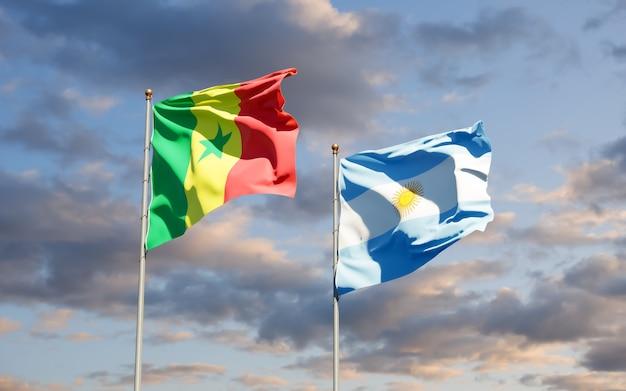 Bandiere del senegal e dell'argentina.