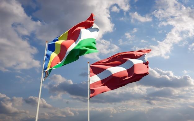 Bandiere delle seychelles e della lettonia