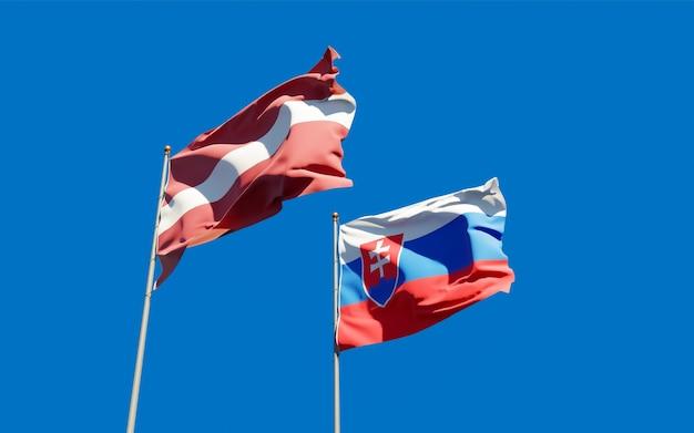 Bandiere di slovacchia e lettonia