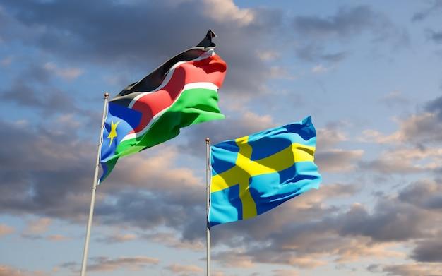 Bandiere del sud sudan e della svezia