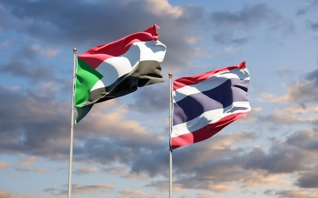 Bandiere del sudan e della thailandia. grafica 3d
