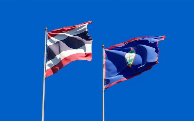 Bandiere di thailandia e guam. grafica 3d