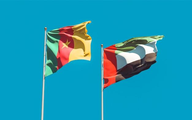 Bandiere degli emirati arabi uniti, emirati arabi uniti e camerun. grafica 3d