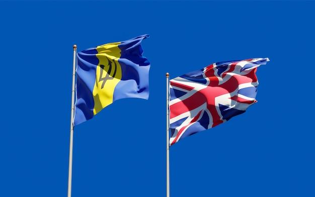 Bandiere del regno unito britannico e barbados. grafica 3d