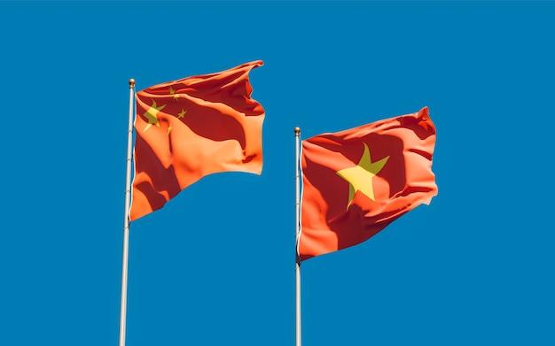 Bandiere del vietnam e della cina. grafica 3d