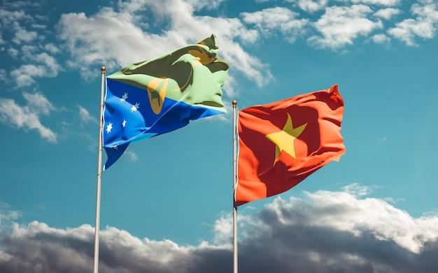 Bandiere del vietnam e dell'isola di natale. grafica 3d