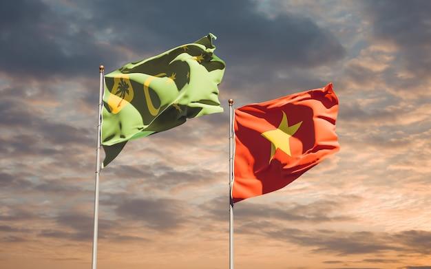 Bandiere del vietnam e dell'isola di cocos. grafica 3d