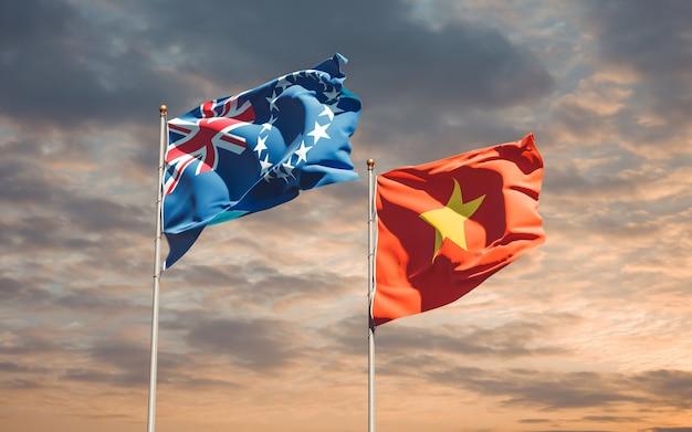 Bandiere del vietnam e dell'isola di cook. grafica 3d