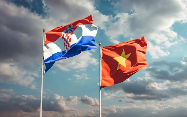 Bandiere del vietnam e della croazia. grafica 3d