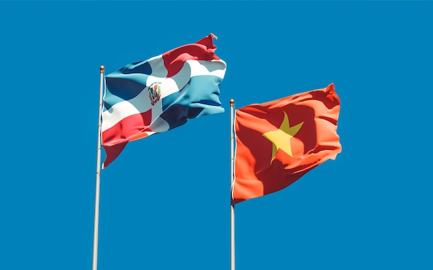 Bandiere del vietnam e della repubblica dominicana. grafica 3d