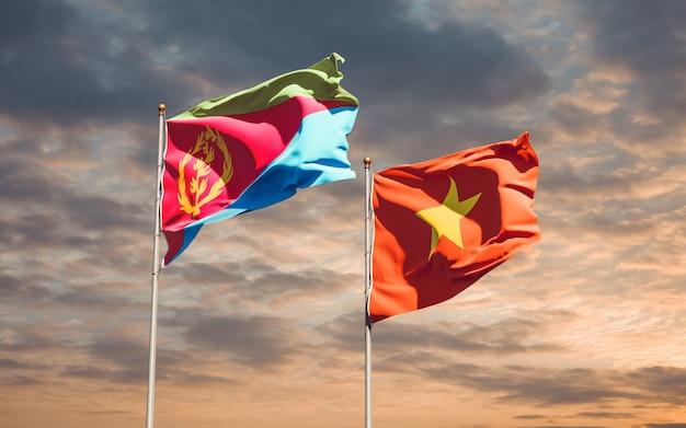 Bandiere del vietnam e dell'eritrea. grafica 3d