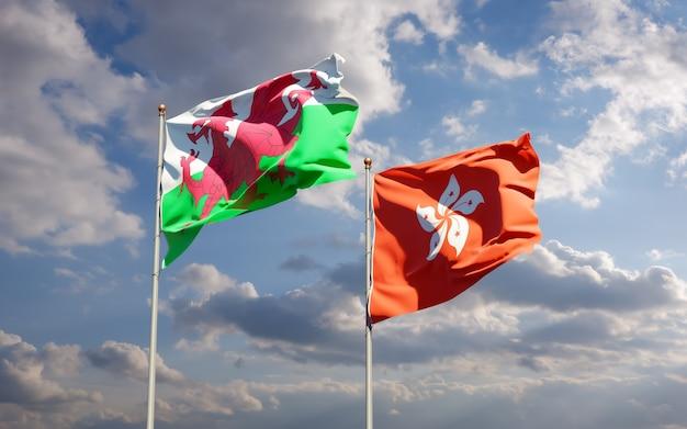 Bandiere del galles e hong kong hk.