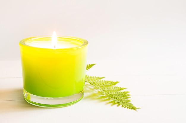 Fiamma di fuoco brucia su candela profumata verde con felce e fragranza naturale su sfondo bianco. aromaterapia, relax, cura del corpo, armonia. copia spazio